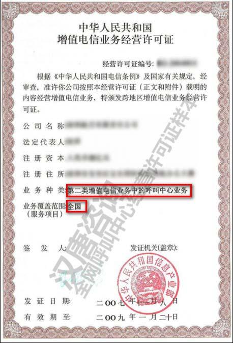第二类增值电信行业许可证样本